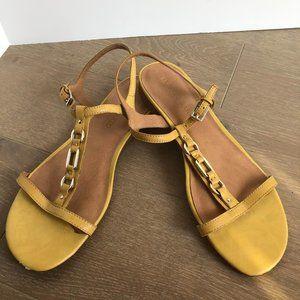 Franco Sarto Leather Sandals Pale Yellow Sz 9.5